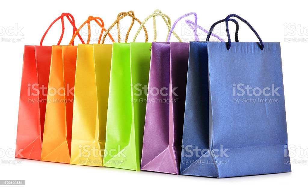Paper shopping bags isolated on white background stock photo