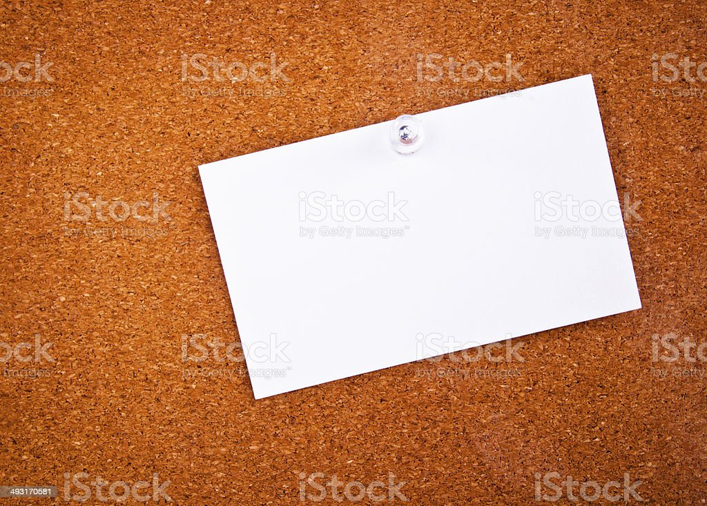 Paper Short Note pin on Wooden Cork Board. royalty-free stock photo