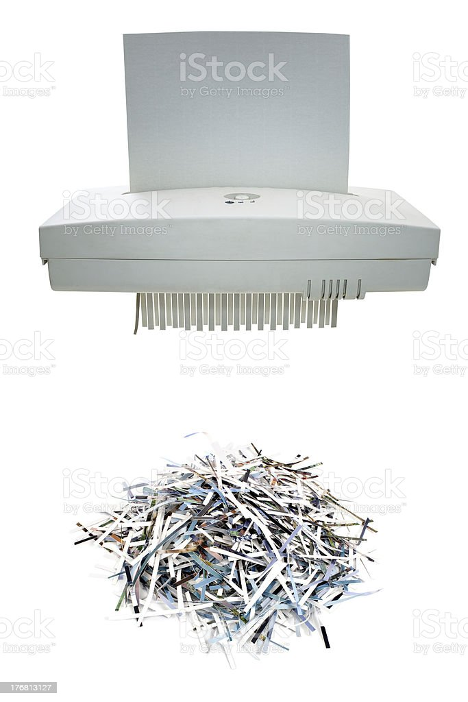 Paper shredder and shred mount stock photo