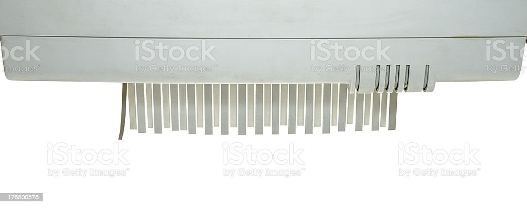 Paper shredder detail royalty-free stock photo