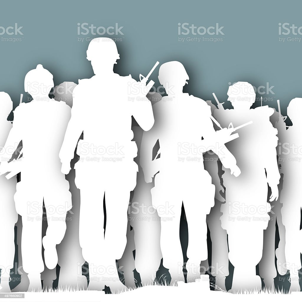 Paper soldiers stock photo