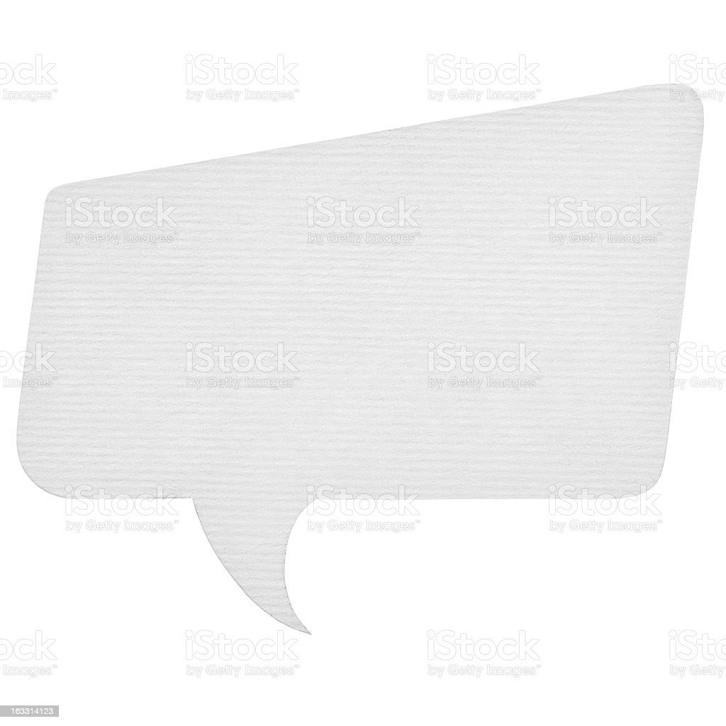 Paper speech bubble isolated on white royalty-free stock photo