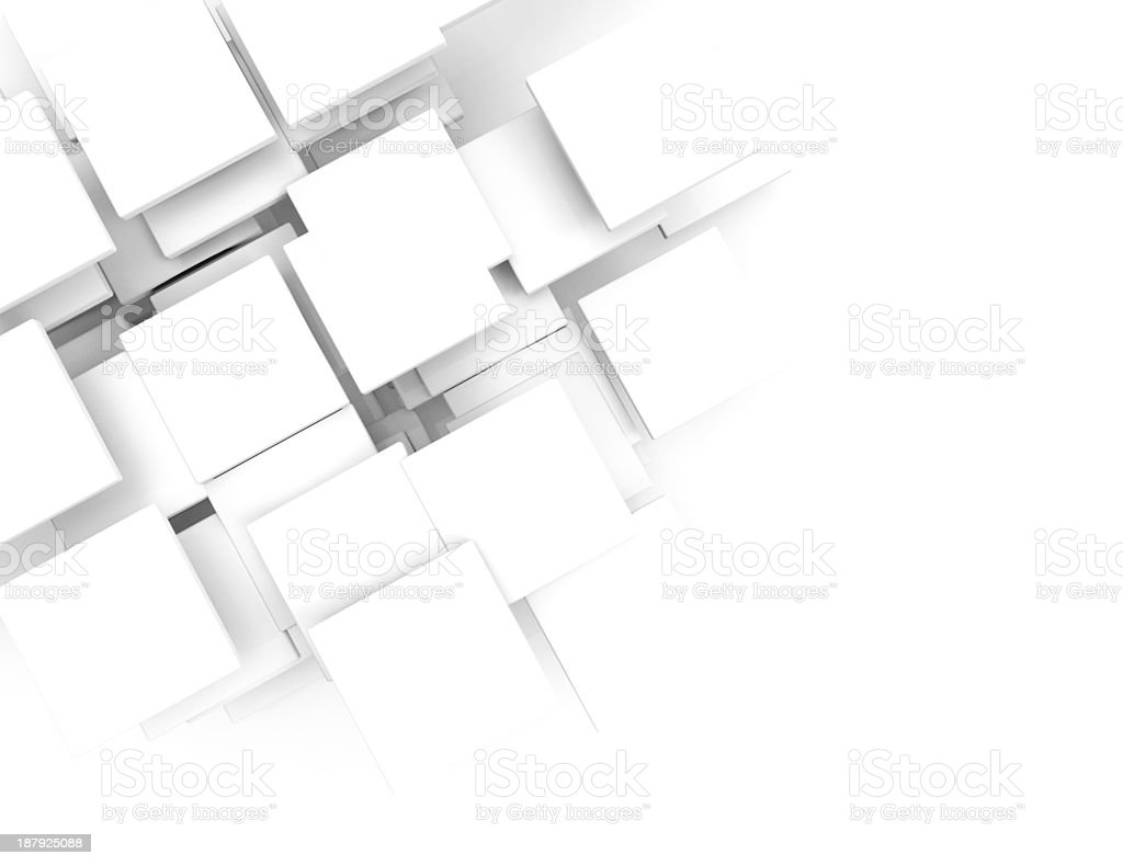 Paper square banner with drop shadows on white background. stock photo