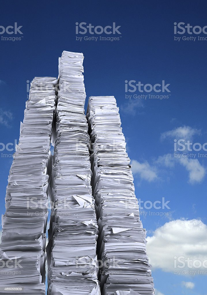 Paper stack blue sky stock photo