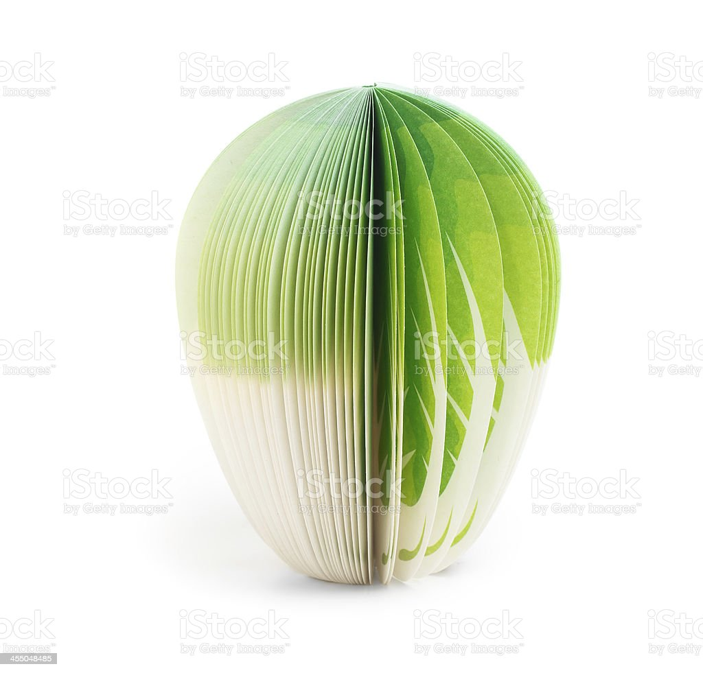 paper stick note green cabbage isolated stock photo