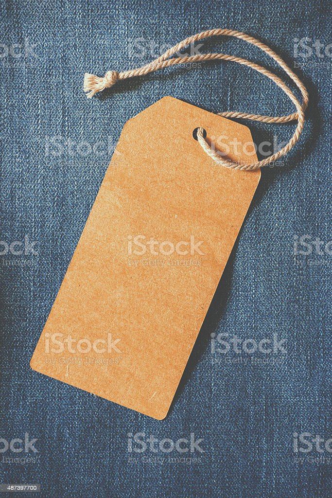 paper tag of jean stock photo