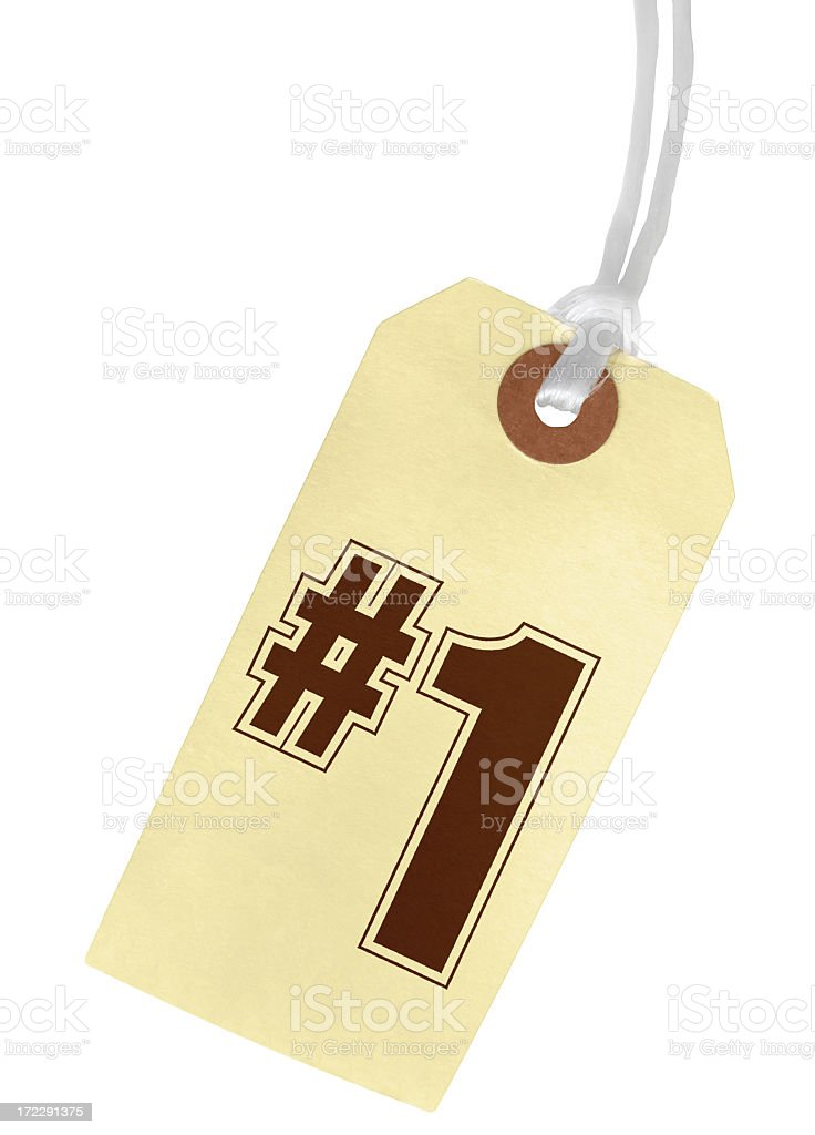 NUMBER 1 Paper Tag stock photo