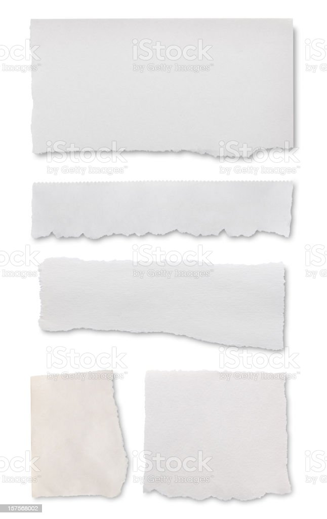 Paper teared into rectangular pieces stock photo