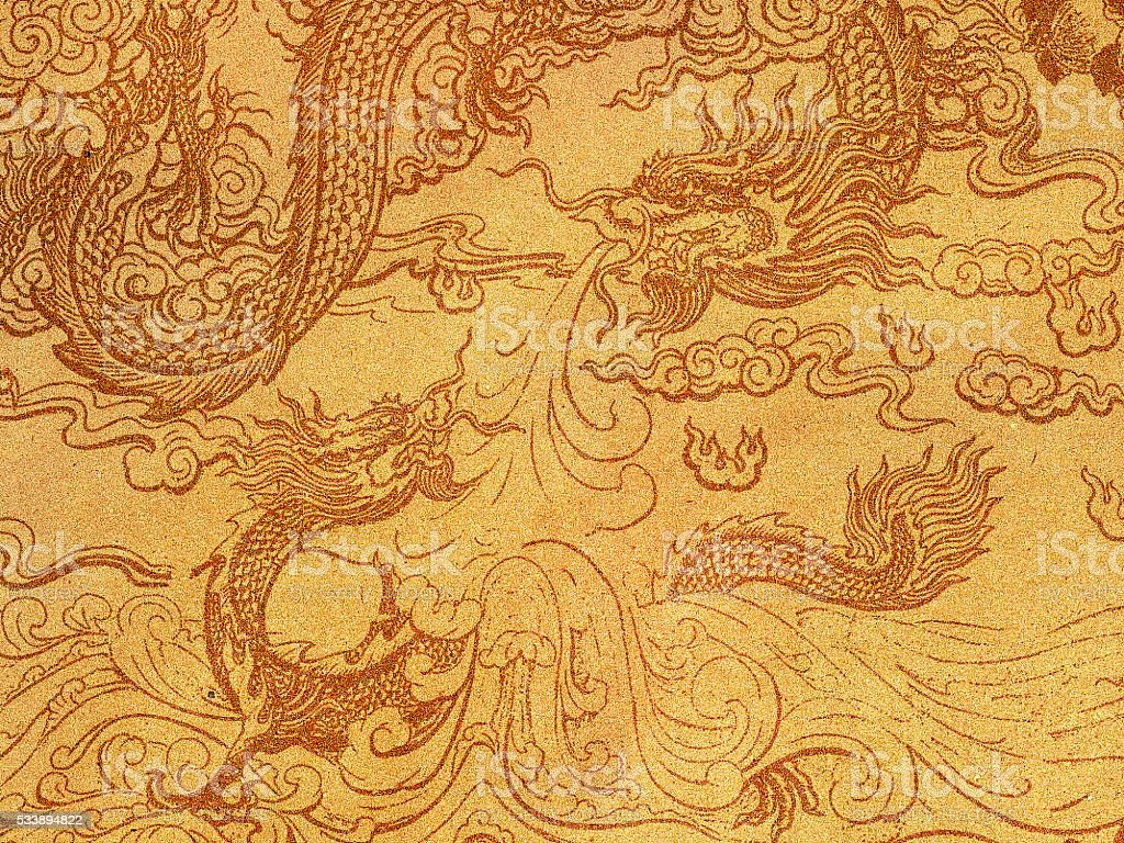 Paper texture ,Art of Chinese dragon on recycle paper stock photo