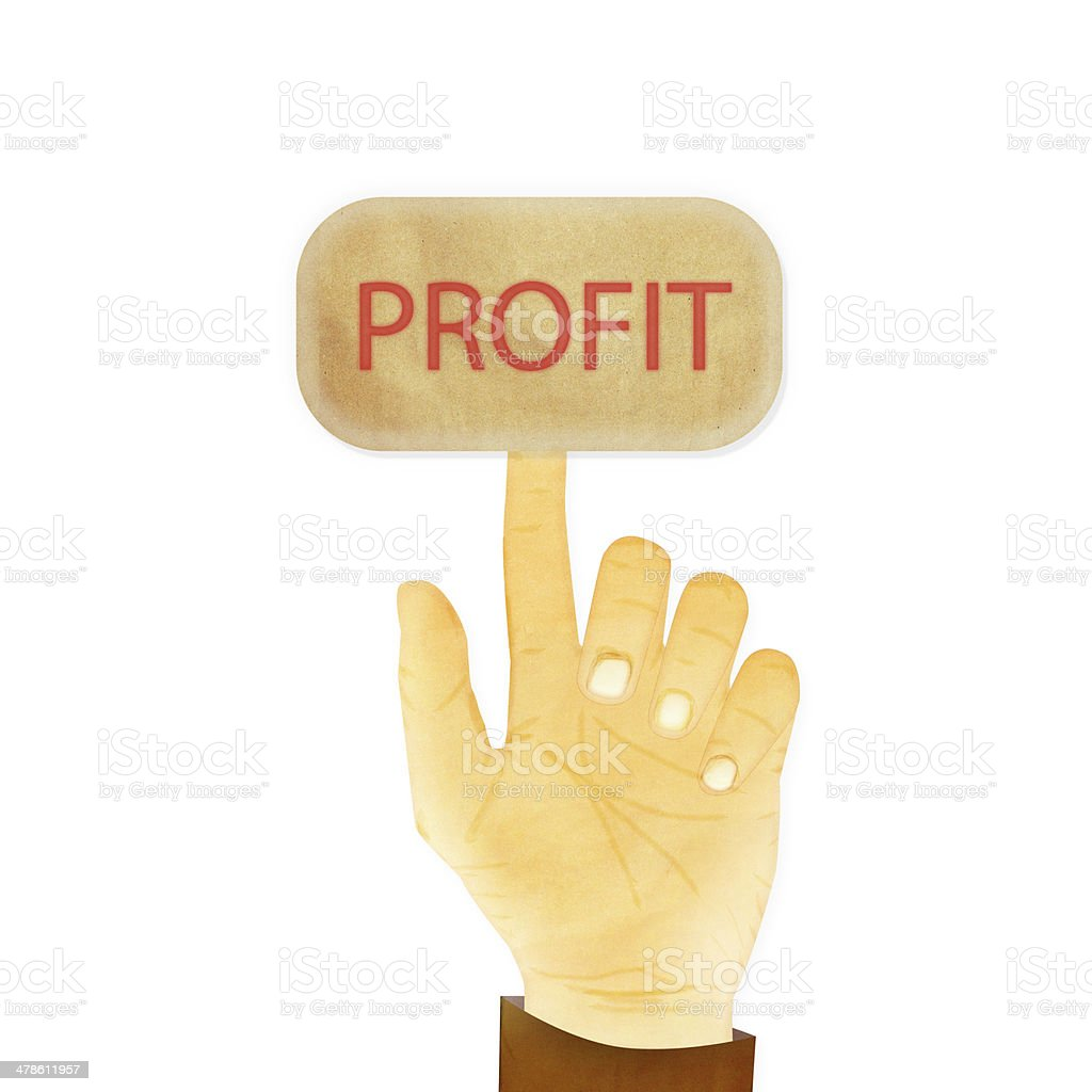 Paper texture ,Hand gesture pointing at profit stock photo