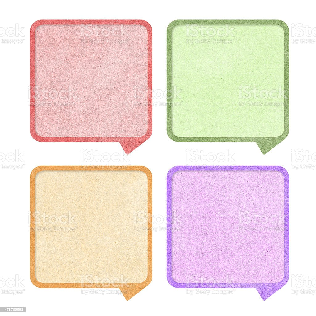 Paper texture ,Talk tag on white background stock photo