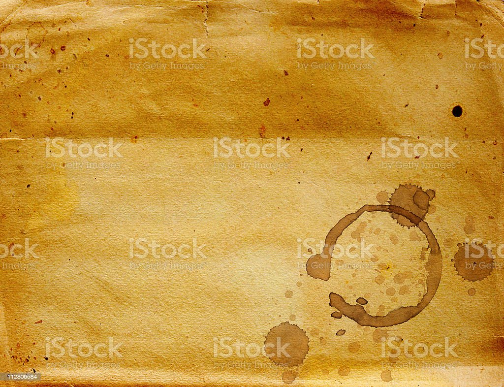 Paper texture with drops of coffee stock photo