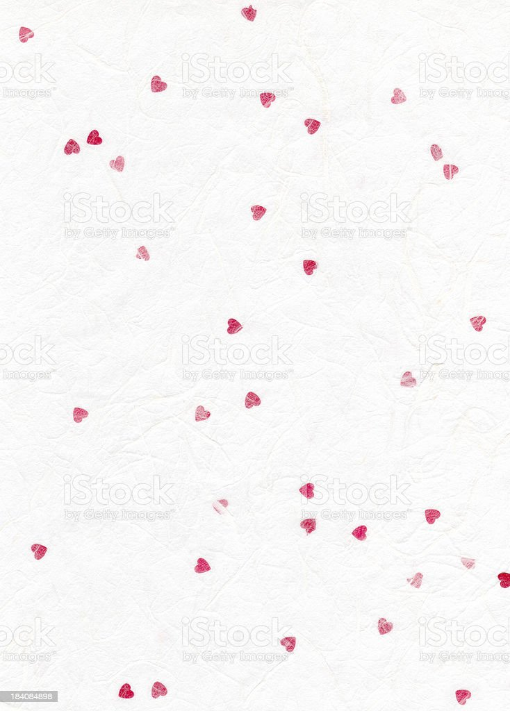 Paper texture with red hearts royalty-free stock photo