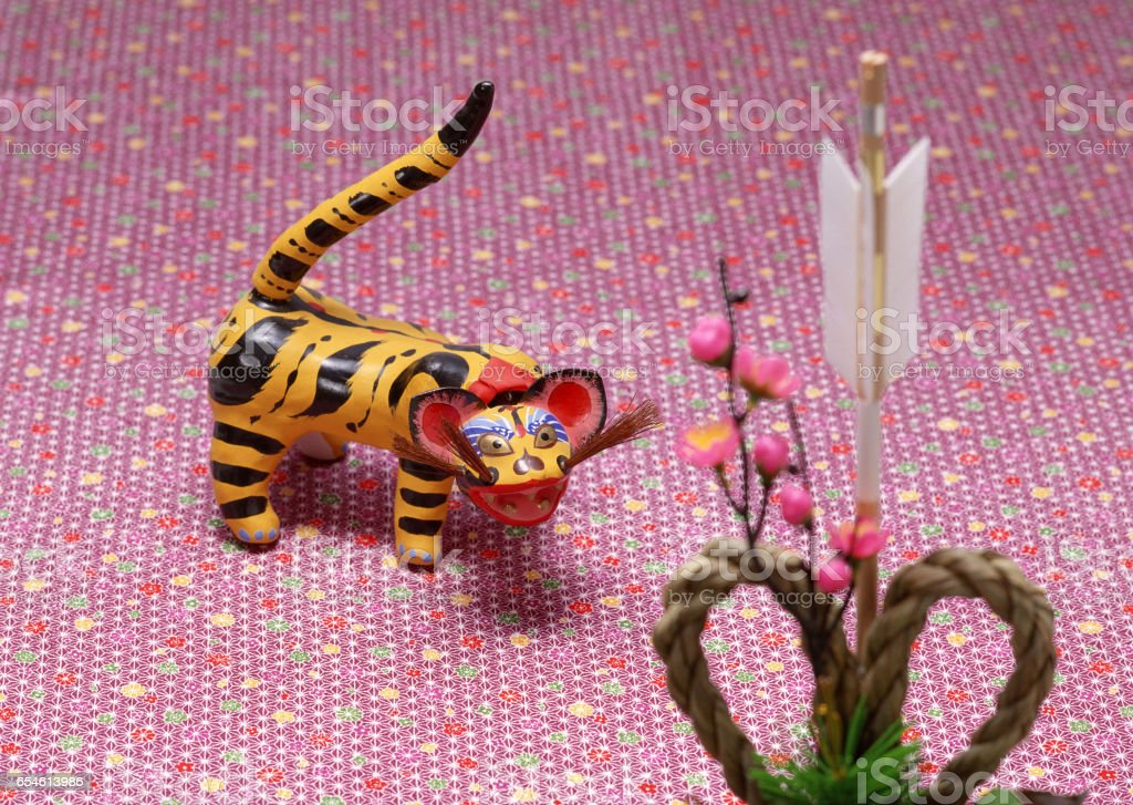 Paper tigers and new year's decorations stock photo