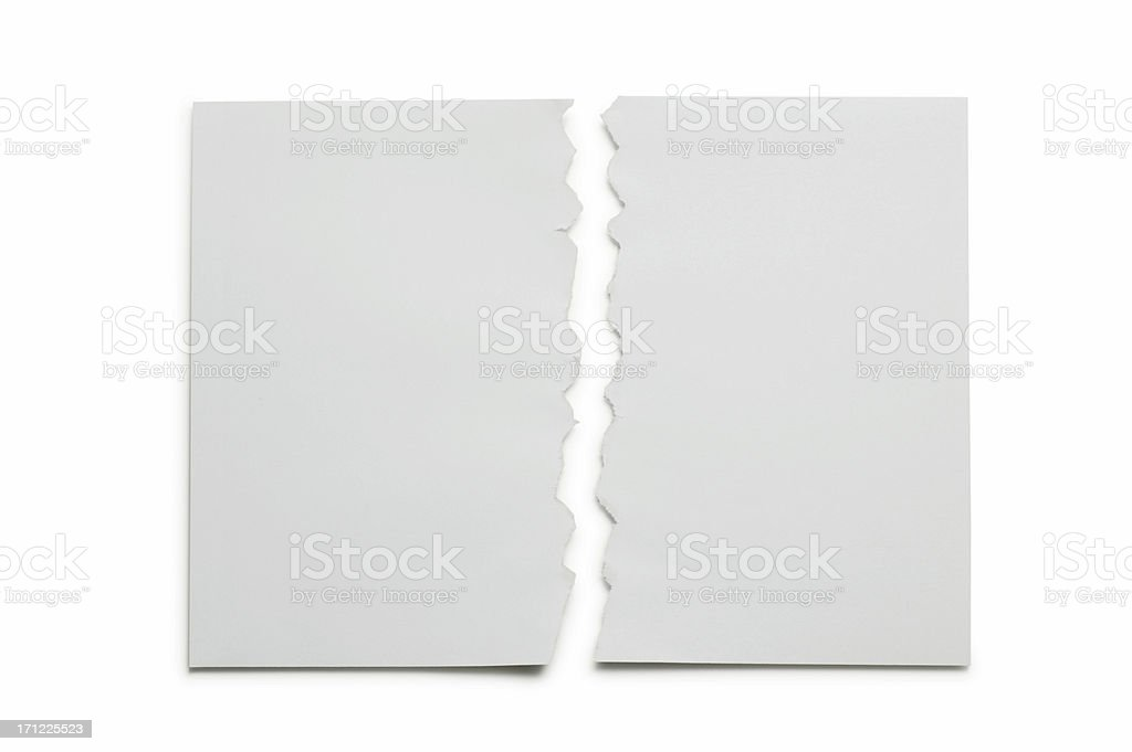 Paper Torn in Half on white background royalty-free stock photo