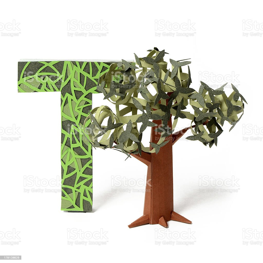 Paper tree and T letter royalty-free stock photo