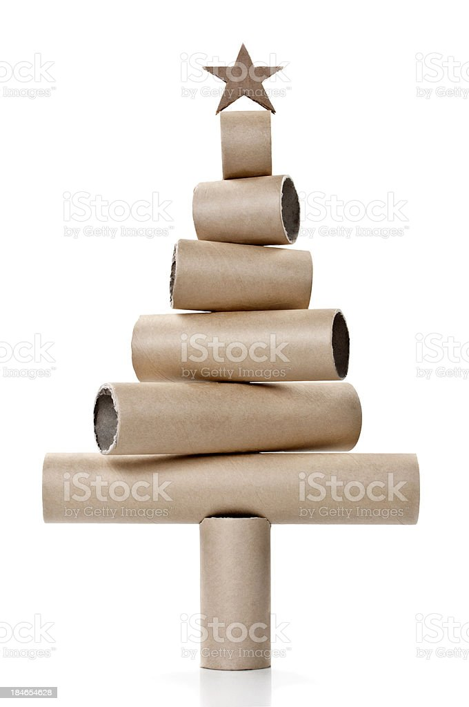 Paper Tubes in the Shape of a Christmas Tree stock photo