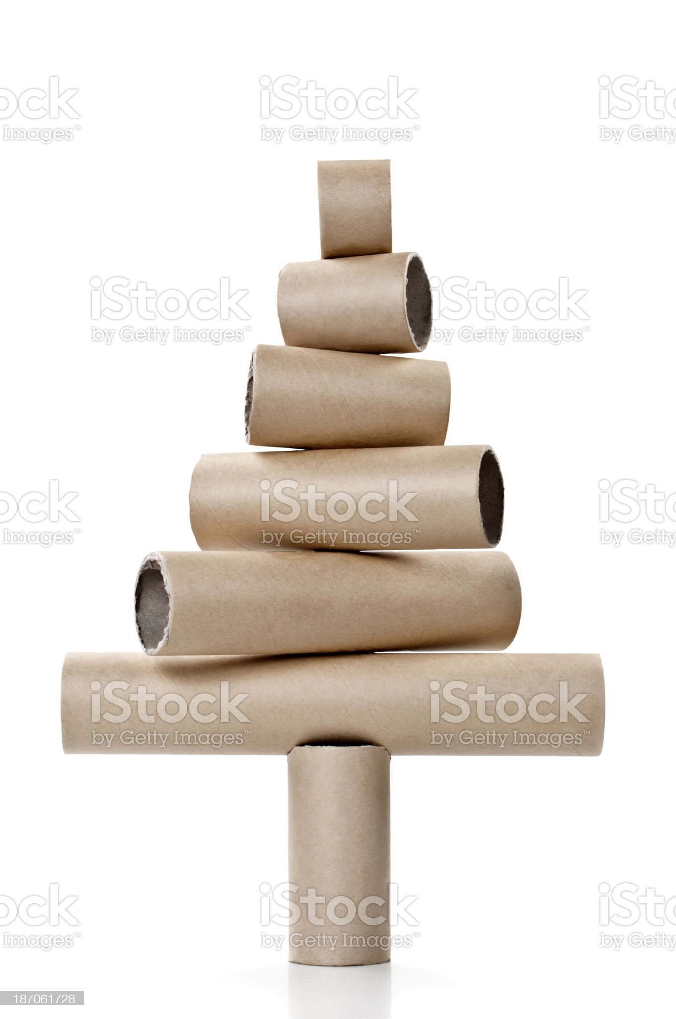 Paper tubes in the shape of a christmas tree royalty-free stock photo