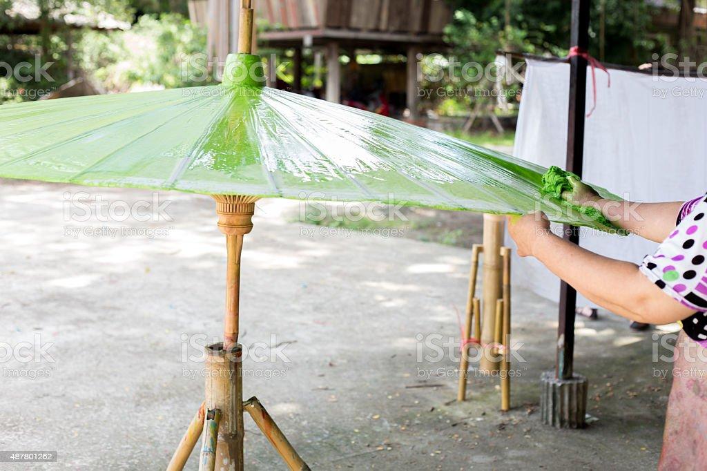 Paper umbrellas , in Chiang Mai , Thailand. stock photo