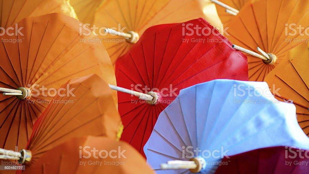 Paper Umbrellas stock photo