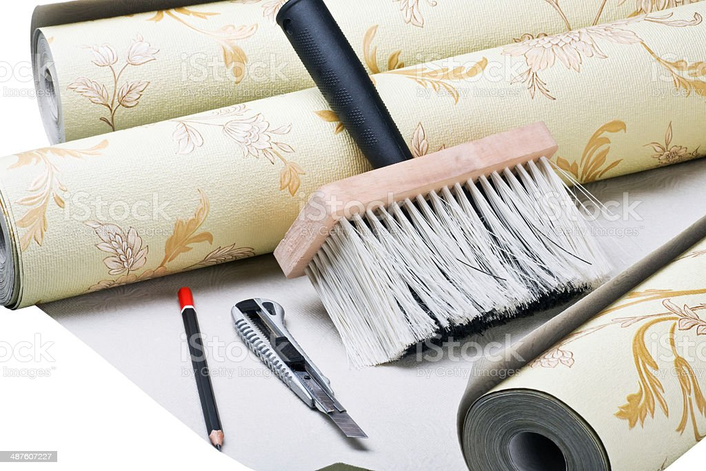 paper wallpaper and tools stock photo