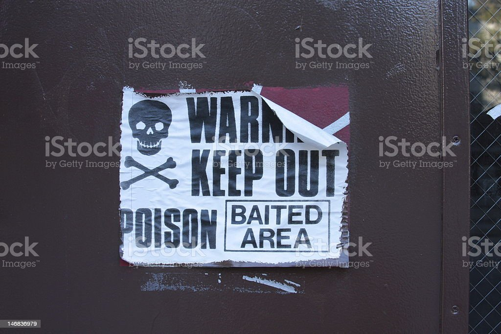 Paper 'Warning' sign- poison royalty-free stock photo