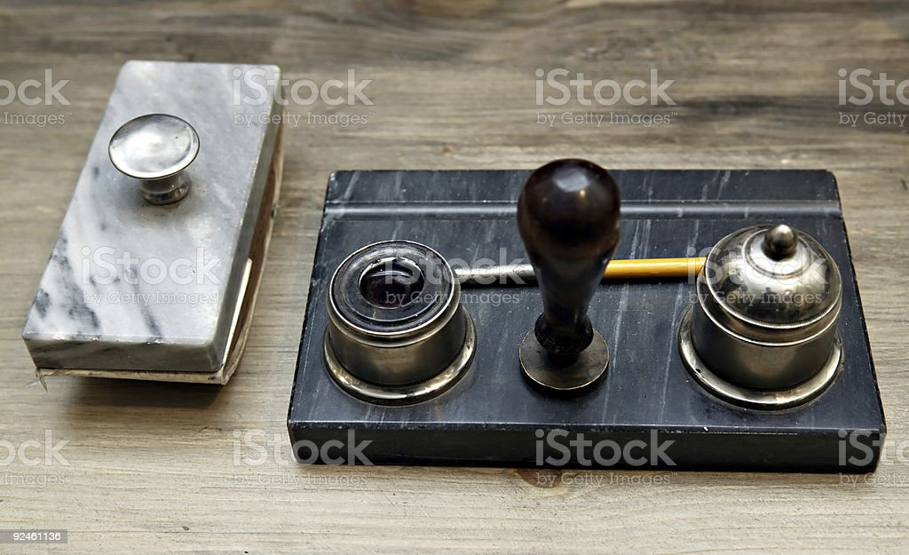 Paper weight and inkstand stock photo