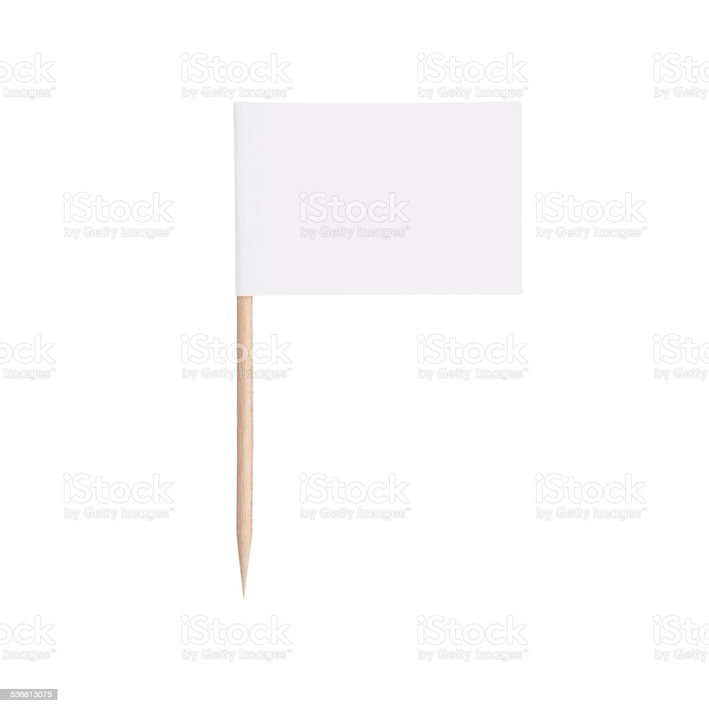 paper white flag.Isolated on white background stock photo