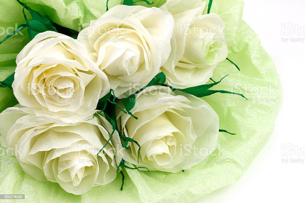 Paper white roses for Valentine's Day stock photo