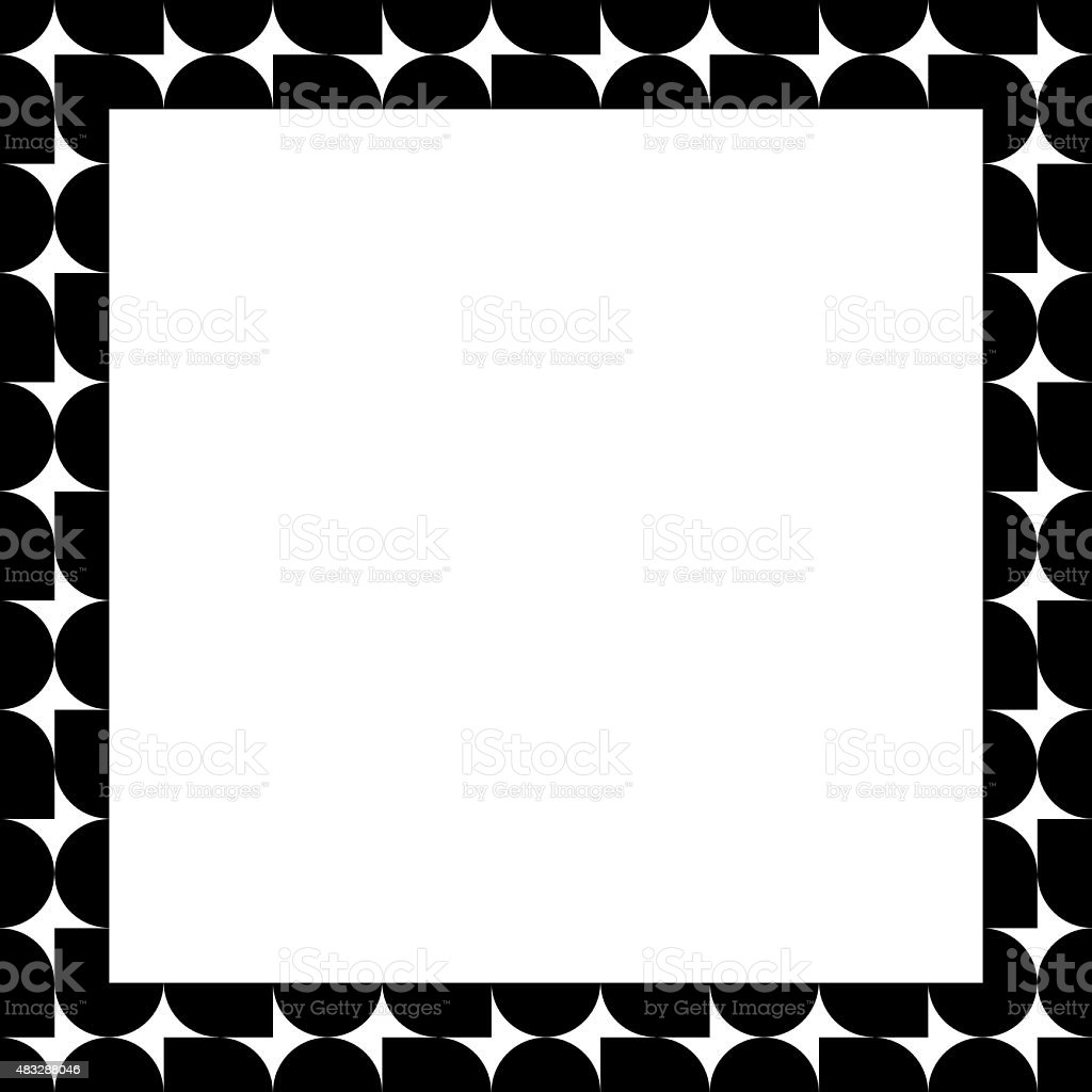 Paper with black and white frame geometric pattern vector art illustration