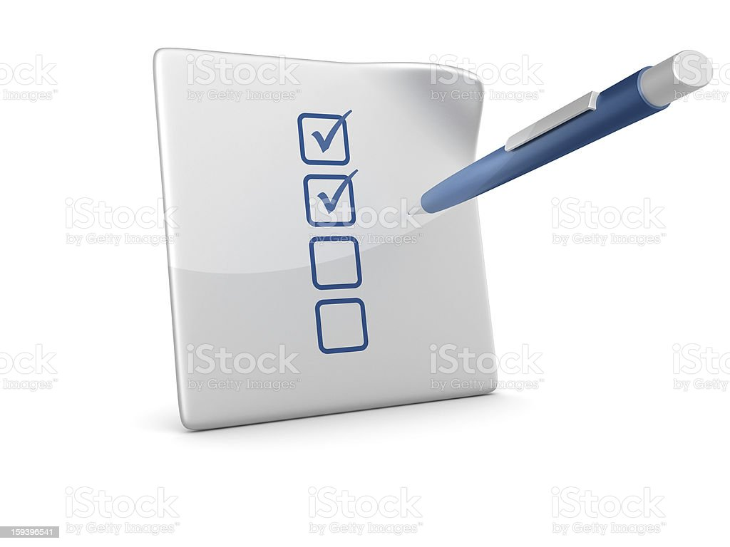 3D Paper with Check List and Pen royalty-free stock photo