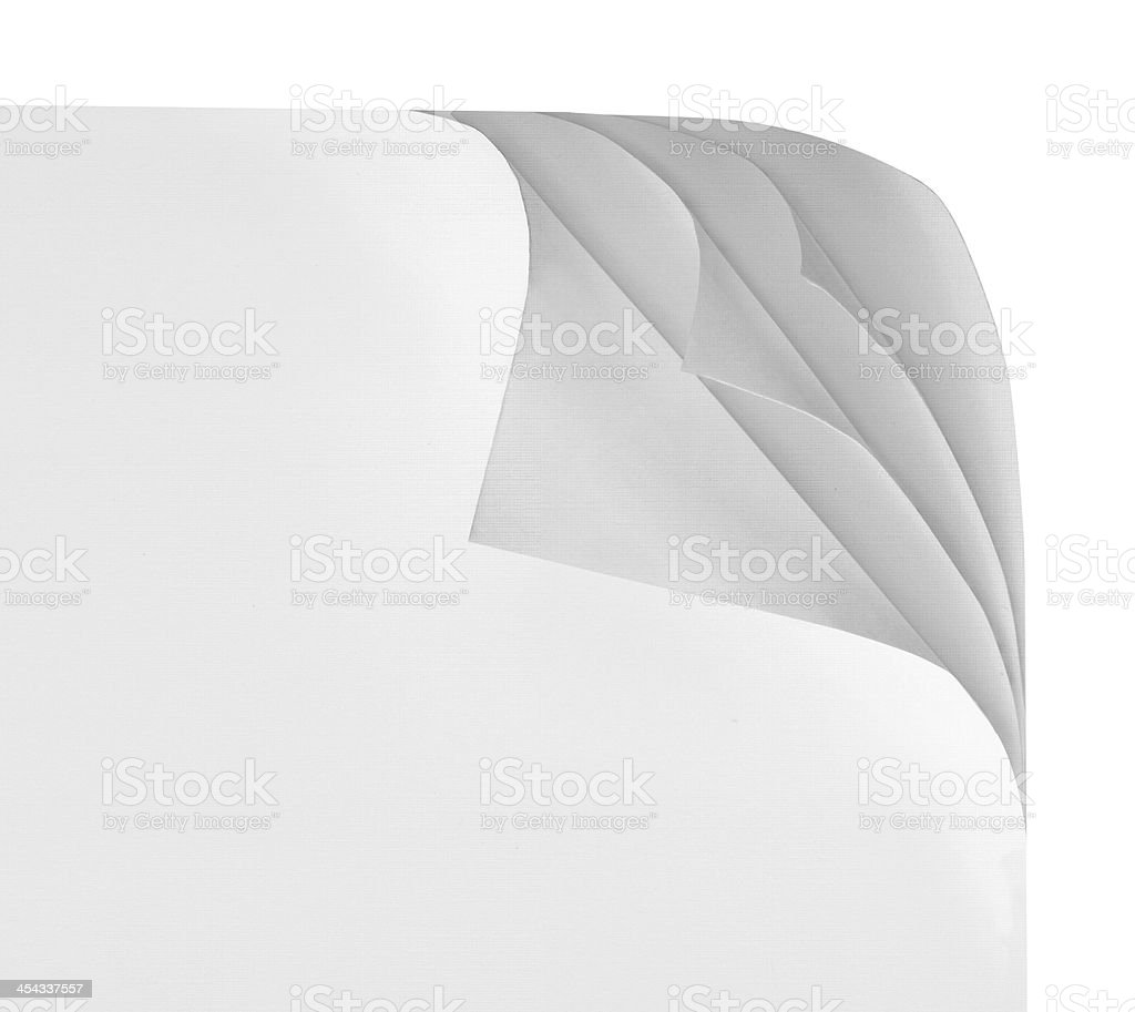 Paper with corner curl stock photo