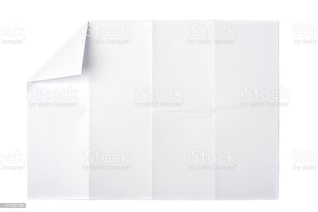 Paper with curled edge on white background royalty-free stock photo