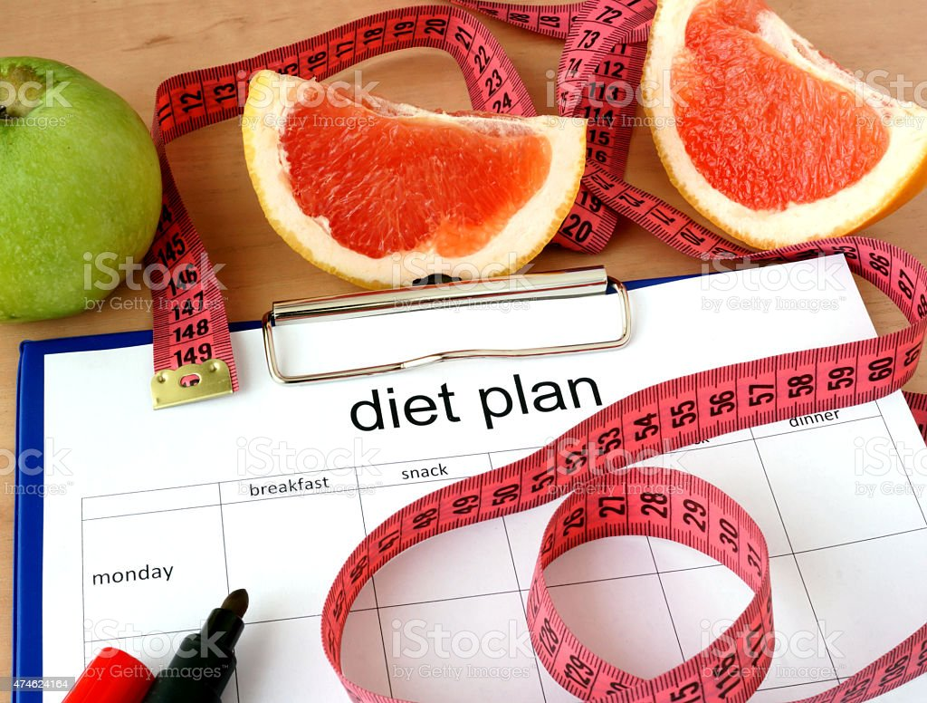 Paper with diet plan and grapefruit stock photo