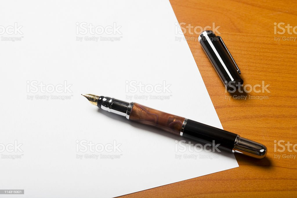Paper with fountain pen stock photo