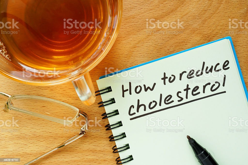 Paper with  How to reduce cholesterol. stock photo