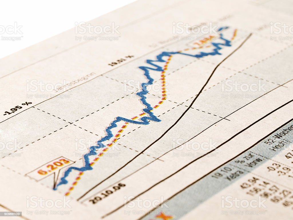 Paper with information in graph and spreadsheet form stock photo