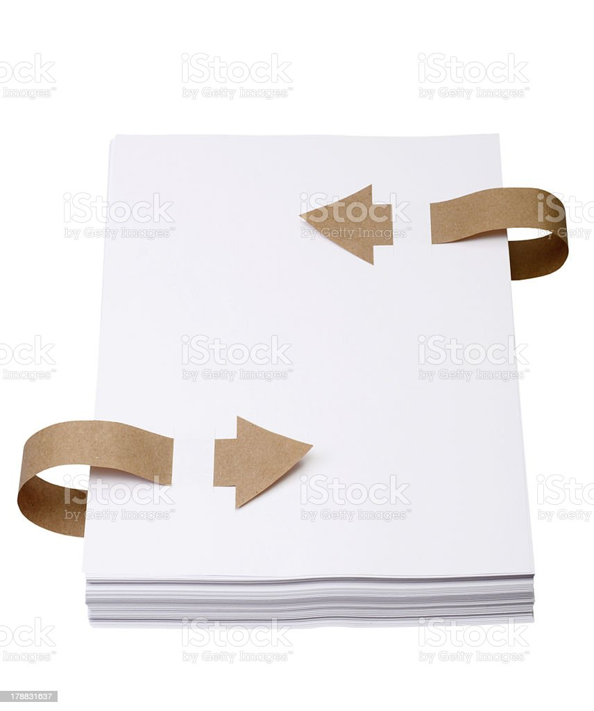 Paper with old bookmark ribbons royalty-free stock photo