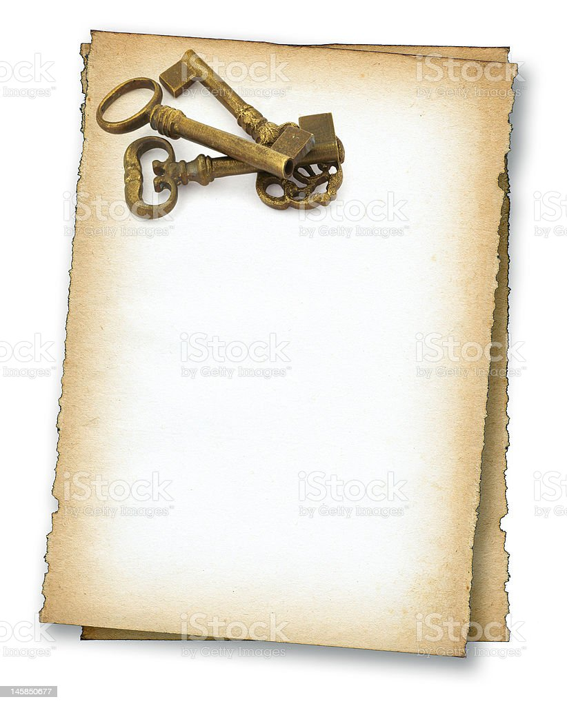 paper with old keys stock photo