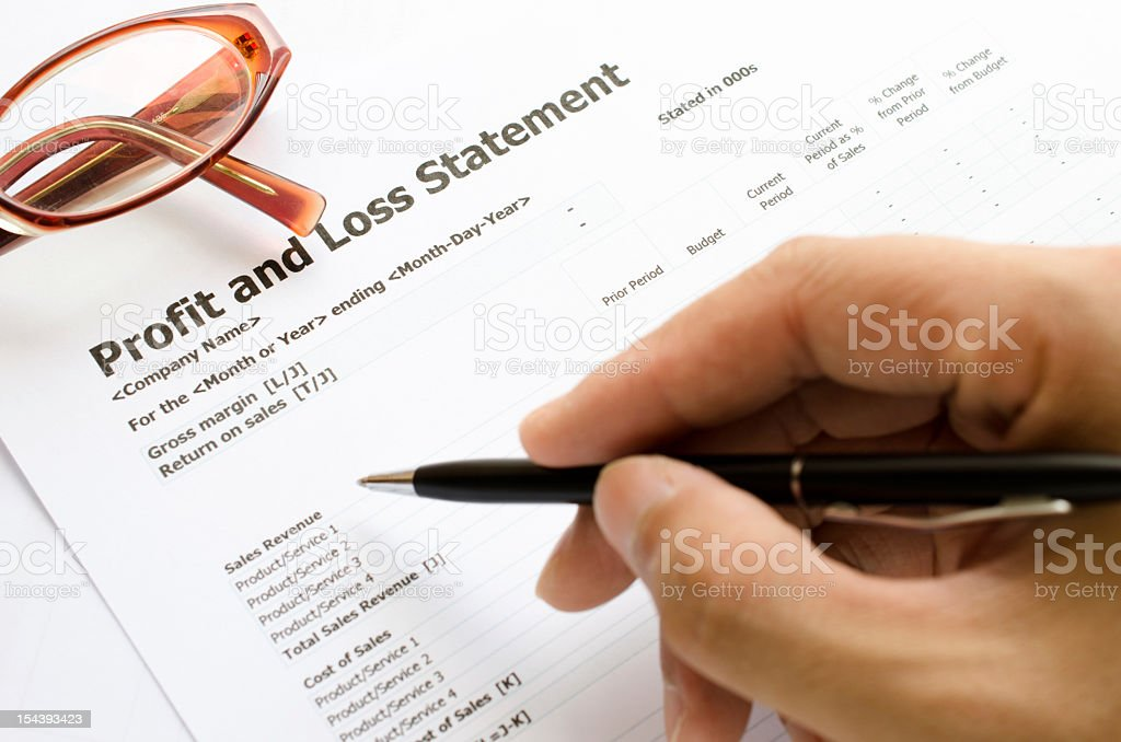 A paper with profits and losses stock photo