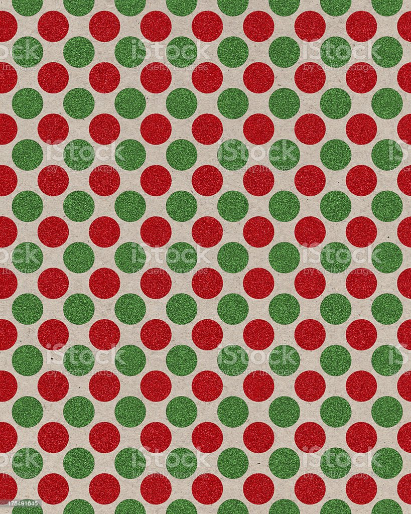 paper with red and green glitter dots stock photo