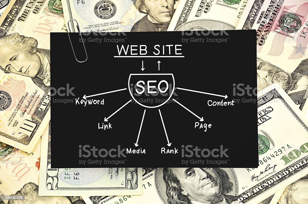 paper with seo scheme royalty-free stock photo