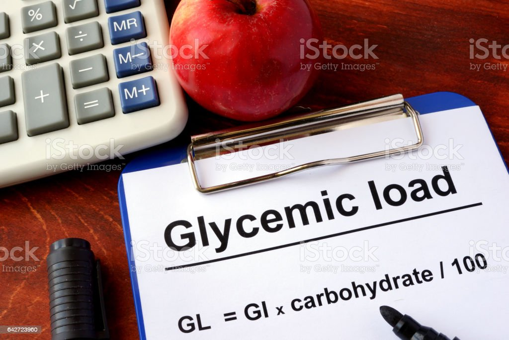 Paper with title Glycemic load and formula. stock photo