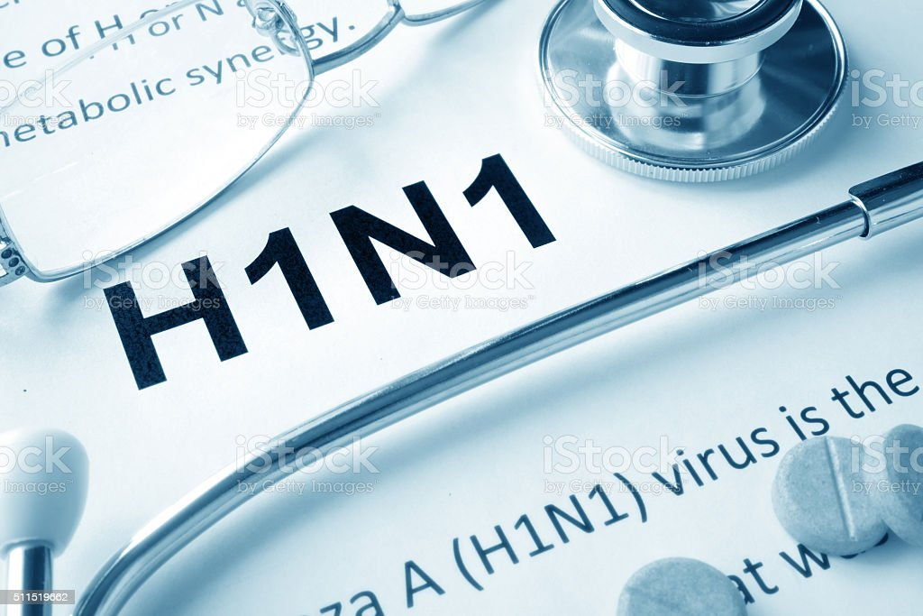 Paper with word   H1N1 disease stock photo