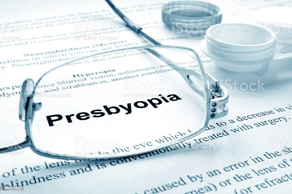 Paper with word  presbyopia stock photo