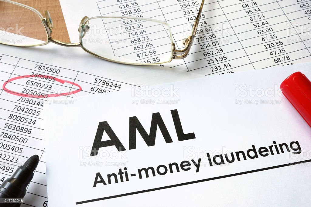 Paper with words Anti-money laundering (AML) stock photo