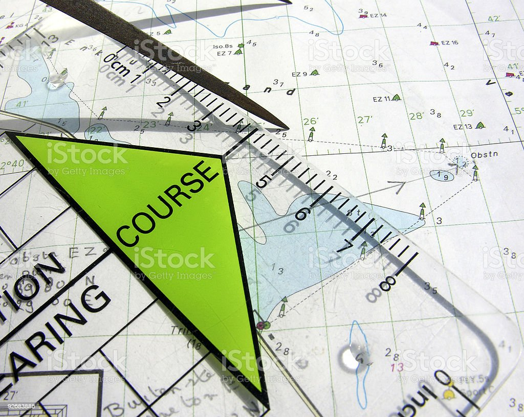 Paper work about navigational courses stock photo