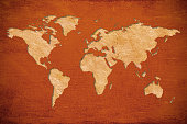 Paper World map on canvas