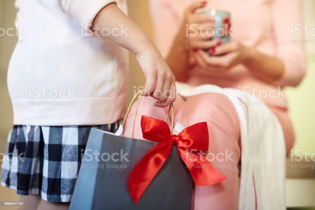 Paperbag with gift stock photo