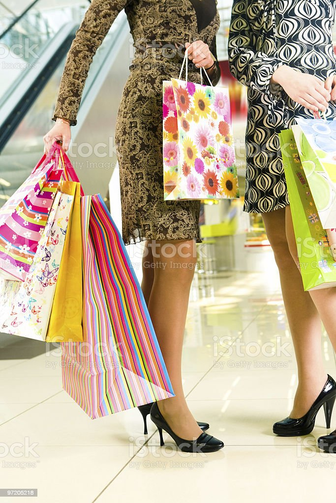 Paperbags in hands royalty-free stock photo
